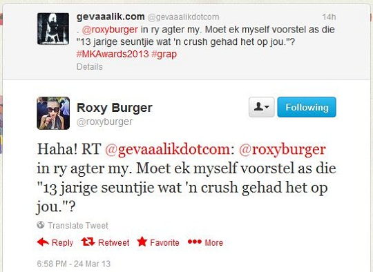 Roxy Burger Tweet
