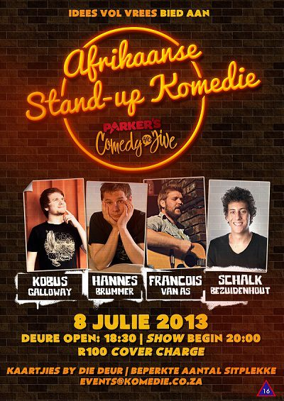 Afrikaans stand-up komedie by Parker's Comedy
