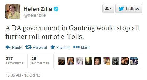 Helem Zille Tweet E-Tolls