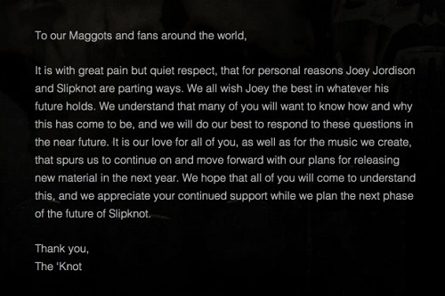 Joey Jordison leaving Slipknot