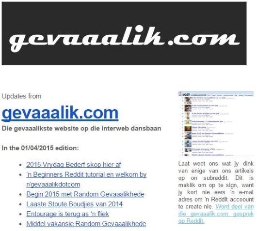 gevaaalik.com Nuusbrief