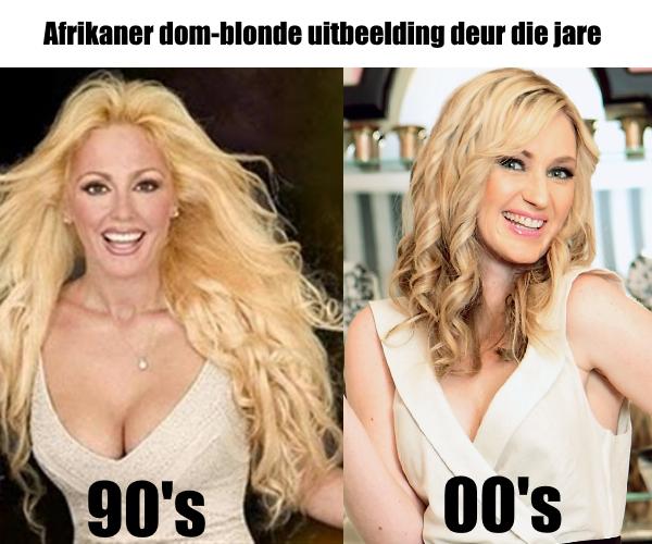 Afrikaner dom-blonde uitbeelding deur die jare